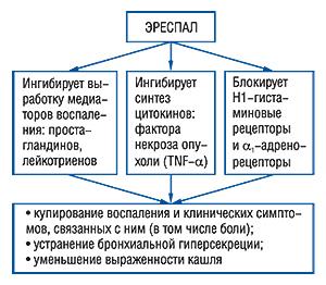 Механизм действия ЭРЕСПАЛА