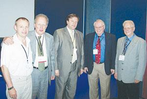 Участники Международного конгресса (слева направо): Г. Урсол, профессор Х. Эктор (Бельгия), профессор А. Равишвили (Россия), профессор Ч. Бирд (США), профессор Е. Колесов (Украина)
