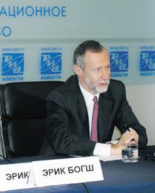 Генеральный директор «Рихтер Гедеон» Эрик Богш вовремя пресс-конференции, посвященной 50-летнему юбилею деятельности компании нарынке стран СНГ