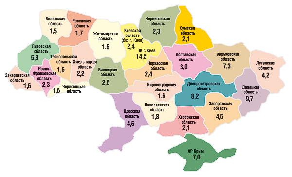 Удельный вес (%) регионов вобщем объеме аптечных продаж вденежном выражении поитогам 9 мес 2006 г.
