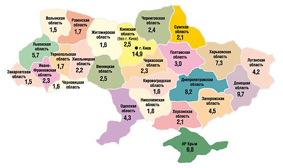 Удельный вес (%) регионов вобщем                                     объеме аптечных продаж вденежном выражении в                                    целом за 2006  г.