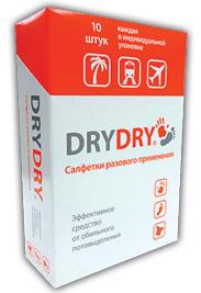 Салфетки DRY DRY — бесцветная прозрачная жидкость, которая не оставляет следов наодежде.