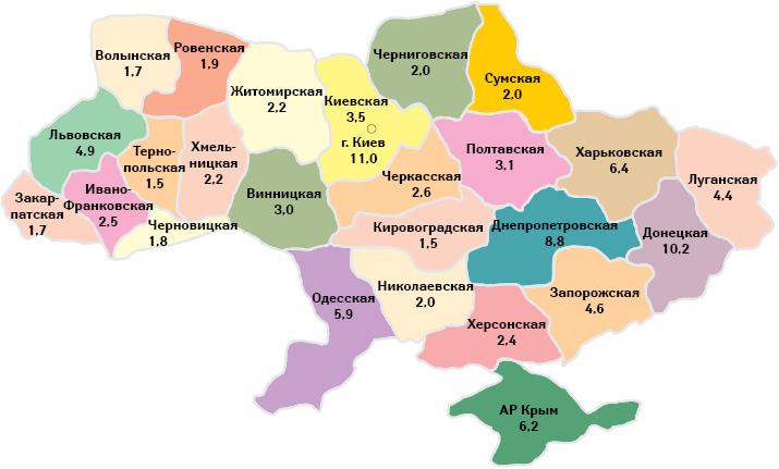 Удельный вес регионов вобщем объеме аптечных продаж всех категорий товаров «аптечной корзины» вденежном выражении поитогам 2013 г.