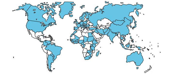Організації— члени FIP насвітовій мапі