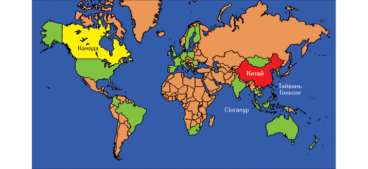 Карта розповсюдження SARS у2002–2003рр.: найбільш уражені країни— Китай, Гонконг, Тайвань та Сінгапур (червоним), атакож Канада, особливо— Торонто (Онтаріо) (жовтим) (Cennimo D. J. et al., 2019)