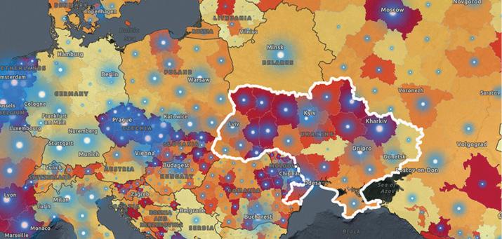 Фрагмент карты соценкой уровня 7-дневной заболеваемости встранах Европейского региона посостоянию на7октября (WHO European Region COVID19Subnational Explorer)
